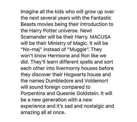 I'm just so happy that those of us who didn't originally see the Harry Potter movies in the theater get to be a part of the Fantastic Beasts generation <3
