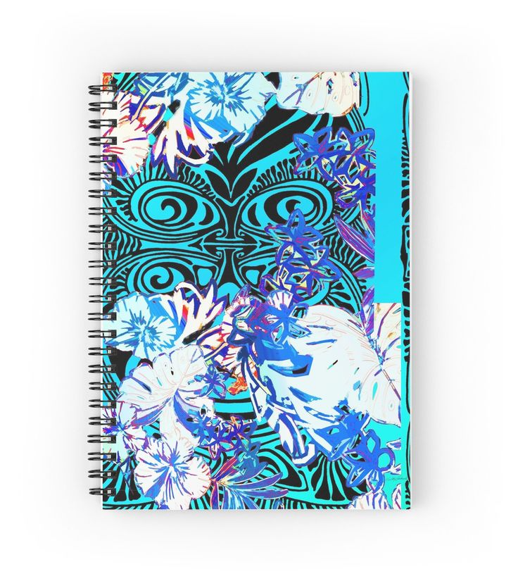 I See You! Spiral Notebook by PolkaDotStudio, lined or #graphic pages, #tropical #Indonesian #Tribal #Hawaiian #ceremonial #mask in a #jungle #floral of #teal #black and #brights #designed for #spiral or #hardbound #journals. Perfect for #memories #recipes #diaries #journaling #reminders for #school #home #office or a fun #artistic #gift.