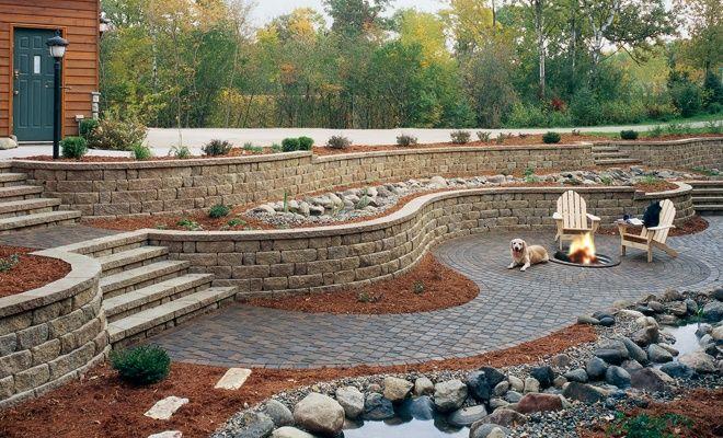pavestone retaining wall steps   ... ™ Highland Stone® Combo Retaining Wall with Stone Steps and Patio