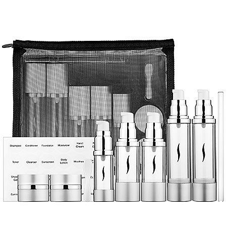 "SEPHORA COLLECTION Deluxe Airless Travel Kit 9 x 7.25 x 2"" by SEPHORA COLLECTION. $38.00. What it is:A sleek, eight-piece set of ready-to-fill travel bottles and elegant jars, plus a set of waterproof labels. What it does:Eliminate stress while traveling with this convenient set of containers that keep your products clean, fresh, and mess-proof. This set of refillable, air-tight tubes and jars can withstand altitude changes and come with waterproof, pre-printed l..."