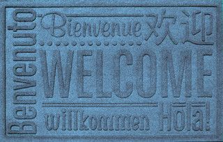 2'x3' Worldwide Welcome Doormat, Bluestone - Transitional - Doormats - by Bungalow Flooring