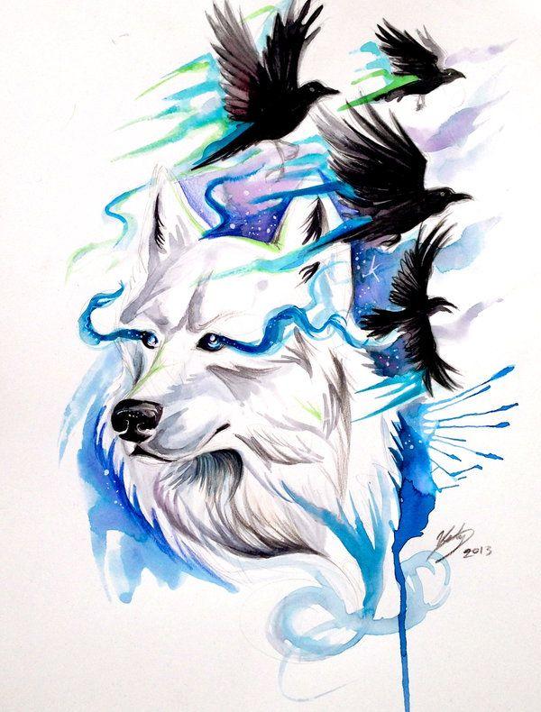 Wolf and Ravens Print- Win Original by Lucky978.deviantart.com on @deviantART