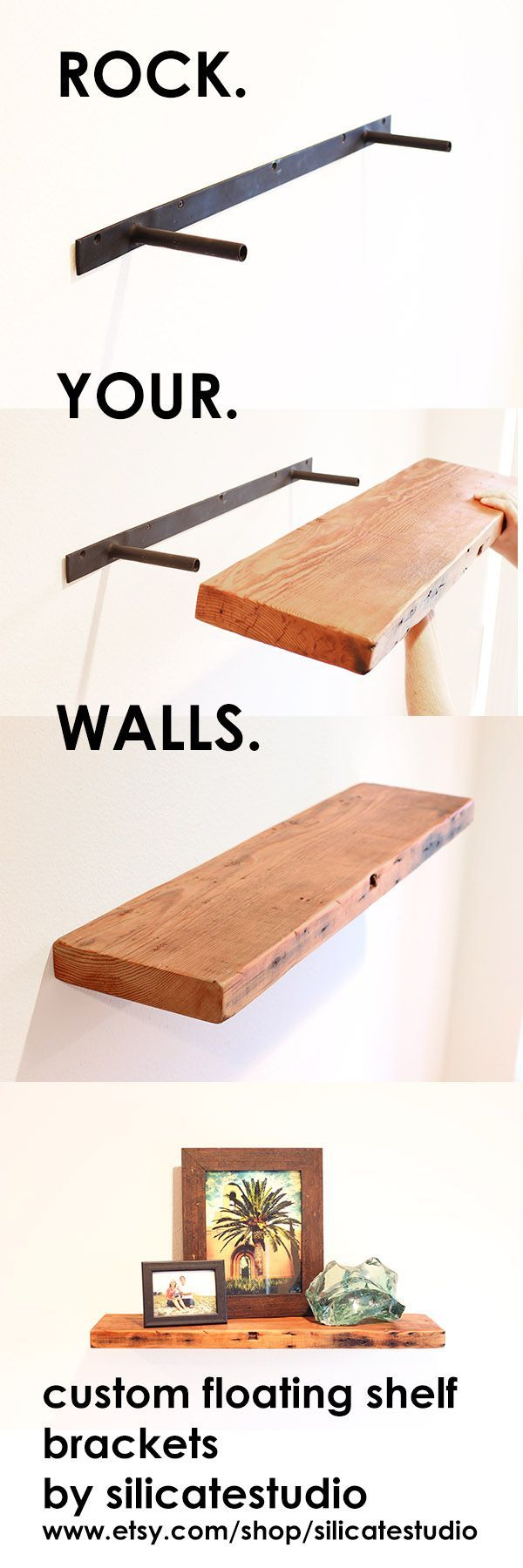 Make any slab of wood a floating shelf with a tough and invisible custom floating shelf bracket from silicate studio. Works especially well with reclaimed wood. www.etsy.com/shop/silicatestudio