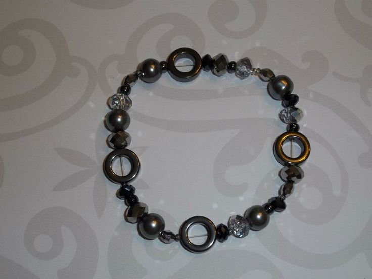Wear this hematite inspired bracelet with the chain necklace