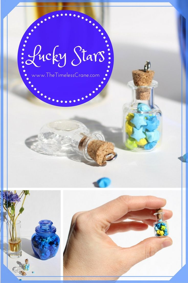 9 best lucky stars images on pinterest lucky star origami and miniature origami paper lucky stars in mini glass bottle w cork stopper decoration charm necklace pendant origami jar lucky star bottle jeuxipadfo Choice Image