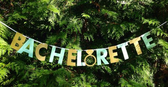 BACHELORETTE BANNER- mint and gold bachelorette party decorations.  Silver bachelorette banner option also available.