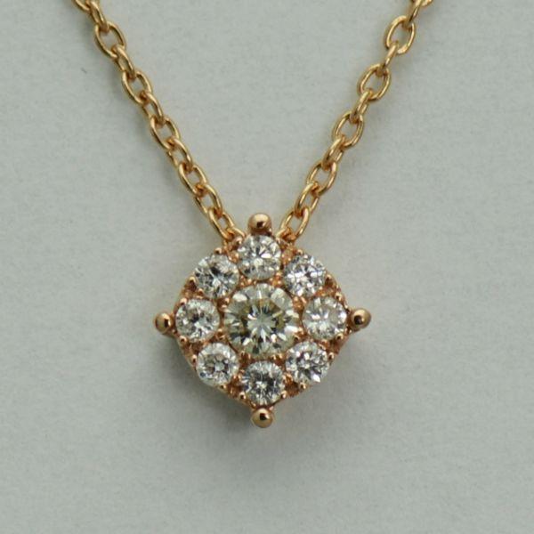 Lant si pandantiv din aur roz cu diamante