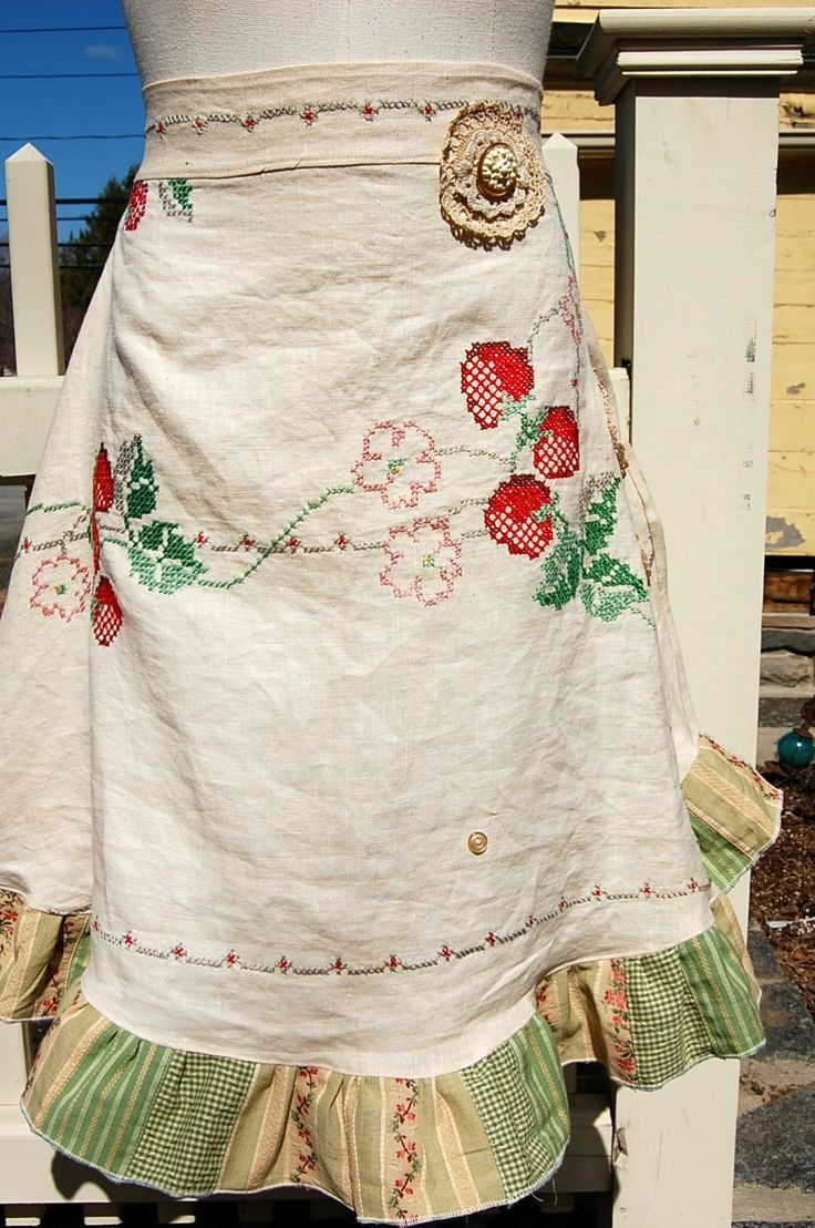 Half apron made with vintage cross stitch tablecloth by CarlyRoseBoutique, $39.99