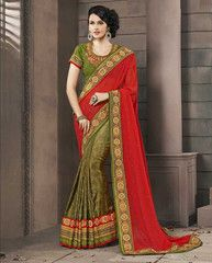 Mehndi Green And Reddish Orange Color Half Fancy Material and Half Georgette Special Occasion Sarees http://www.shopcost.in/saree