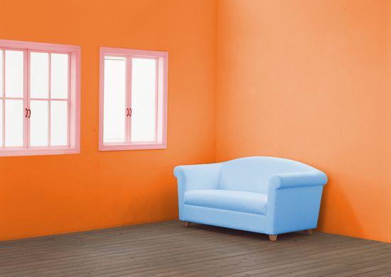 Светло — оранжевый цвет в интерьере