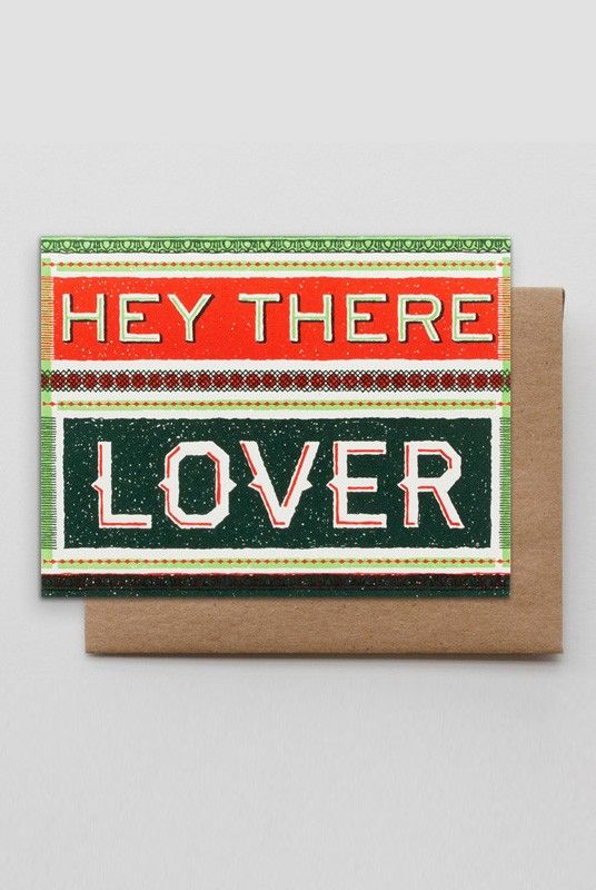 Hammerpress Greeting Cards - Hey There Lover Print  - Available from NoteMaker.com.au #Valentinesday #Valentines #Valentinecards