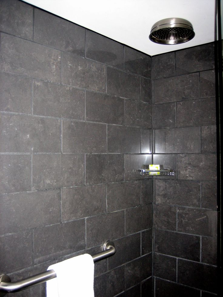 Bathroom Tiles Horizontal 12x24 tile installed horizontal brick pattern. rain head