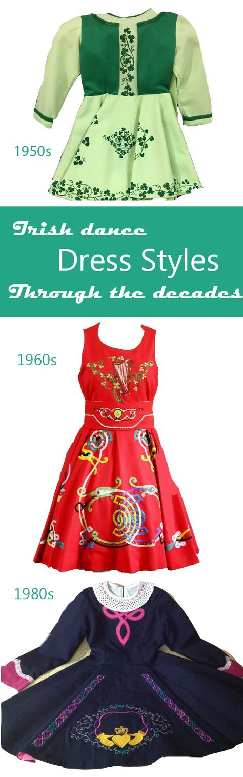 Irish dance dress evolution through the decades. Read more: http://thepinkpaperdoll.com/feis-fashion/