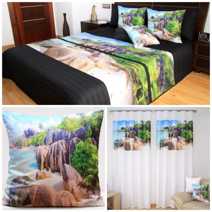 Komplety sypialniane dekoracyjne w kolorze niebieskim z motywem natury