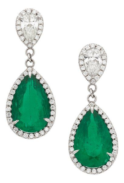 Colombian Emerald, Diamond and Platinum Earrings