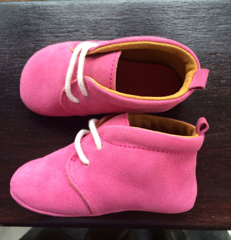 Handmade pink leather soft soles.
