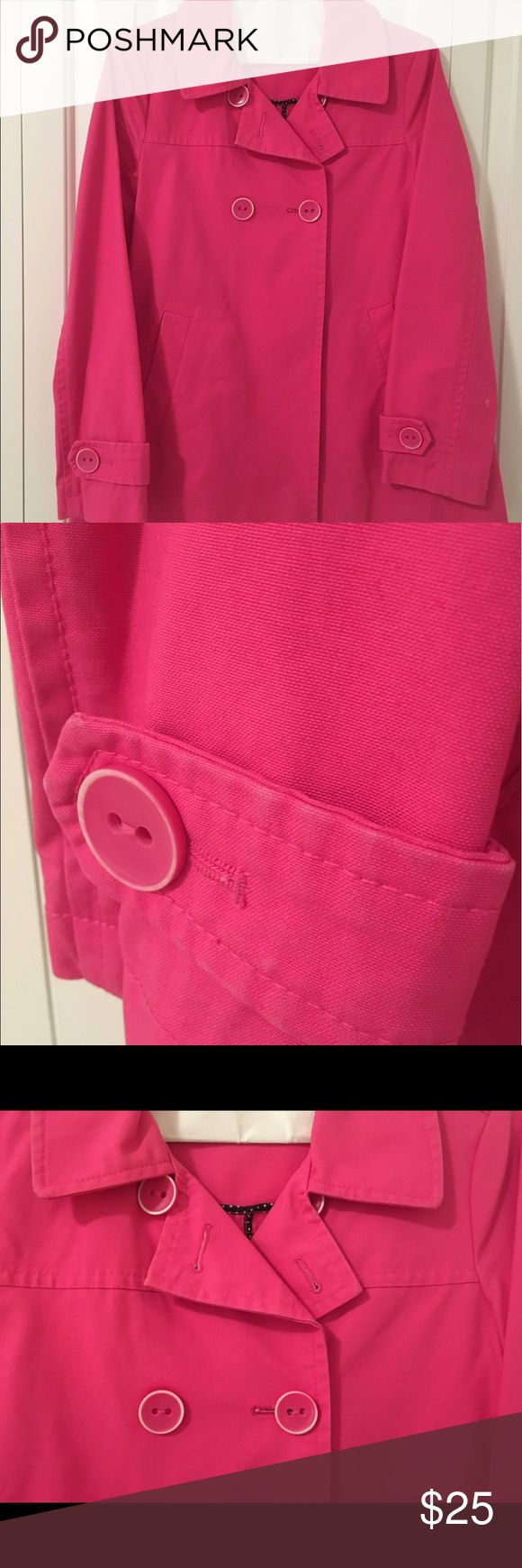 Pink Gap jacket Size medium Gap Jacket.  It is pink.  One button is missing off sleeve but there is a replacement button inside.   Please look at all pictures before bidding.  This is a cute jacket for Spring. It is machine washable and is 100% cotton. GAP Jackets & Coats