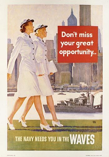 This is political because the government is basically begging women for help. WWII. WAVES recruiting poster