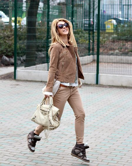 Mango Jacket, Brandy Melville Cardigan, Balenciaga Bag, Vintage Italy Pants, Isabel Marant Sneakers, Celine Sunglasses