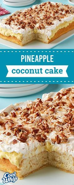Pineapple Coconut Poke Cake – Wondering what dessert to make for your next summer celebration? This tropical-flavored recipe is frosted with an amazing mix of vanilla pudding, pineapple, and coconut—making it the perfect treat!