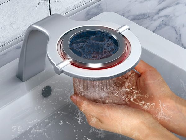 The iWash faucet that displays when your hands are dirty or clean.