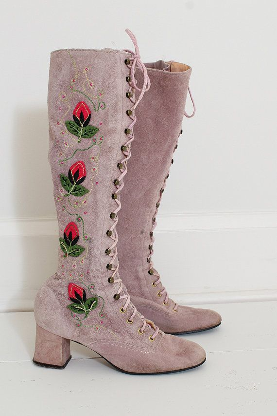 ➳ vintage 1960s boots  * suede with pale lilac laces * gorgeous embroidered rosebud appliques * metal stud details * never worn! * rare and perfect detailing  condition   excellent  marked size 6.5M   fits true to size with some give up to a smallish size 7 insole (measured toe to heel outside of boot) 9.5 shaft 15 heel 2.25 around calf 12-14 around ankle 8-10  ➳ shop http://www.etsy.com/shop/millstreetvintage?ref=si_shop  ➳ shop policies http://www.etsy.co...