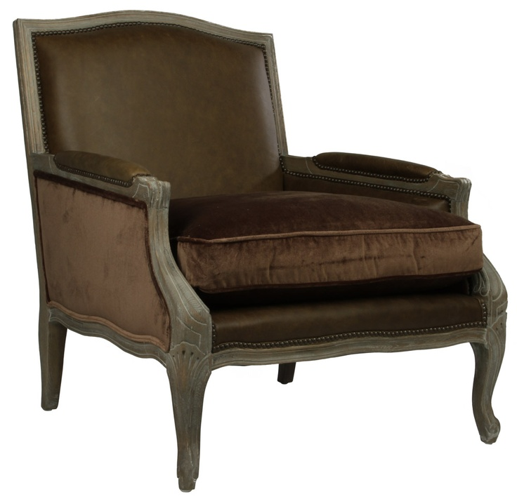 Cannes Leather and Velvet Arm Chair