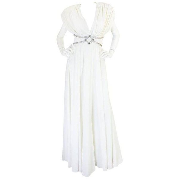 Preowned 1970s Frank Usher Grecian Draped Beaded Jersey Dress ($875) ❤ liked on Polyvore featuring dresses, grey, long dresses, silver beaded dress, gray dresses, long tube dress and long grey dress