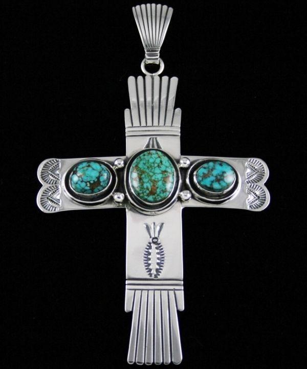 Leonard Nez Rare Gem Grade Royston Spiderweb Turquoise Shadowbox Design Cross #LeonardNez This gorgeous cross created by Navajo jeweler Leonard Nez is set with gem grade natural Royston turquoise from Nevada.