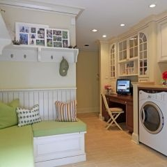 desk area, window seat, laundry room all in one