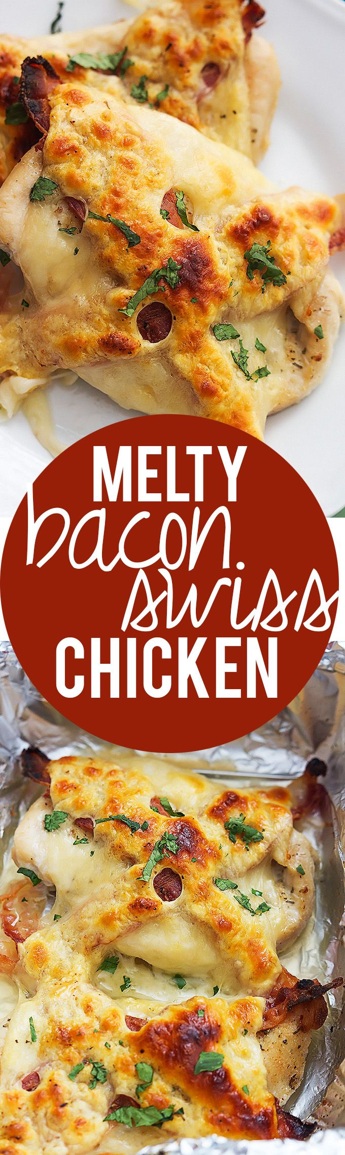 Melty Bacon Swiss Chicken - 6 ingredients and ready in 30 minutes! | Creme de la Crumb