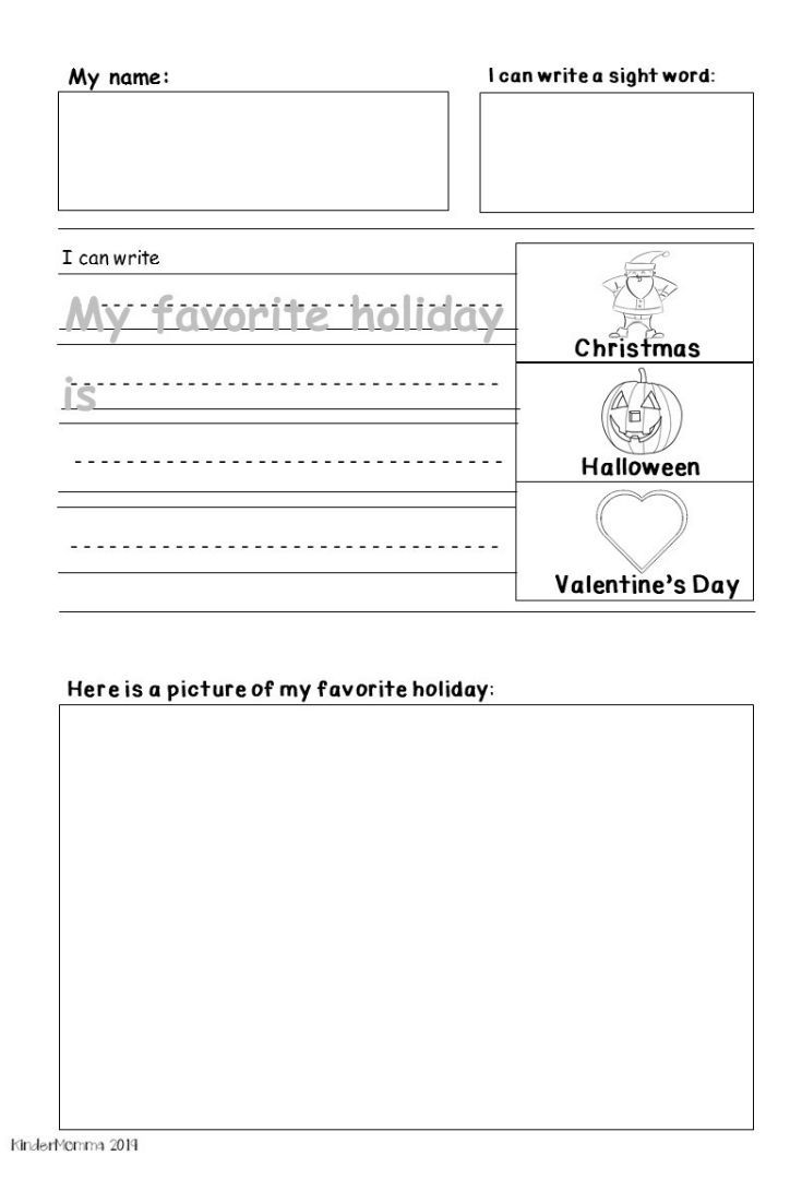 Free Holiday Writing Printable Kindermomma Com Kindergarten Worksheets Holiday Writing Holiday Worksheets