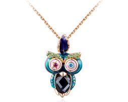 Luxusný náhrdelník s príveskom farebnej sovy