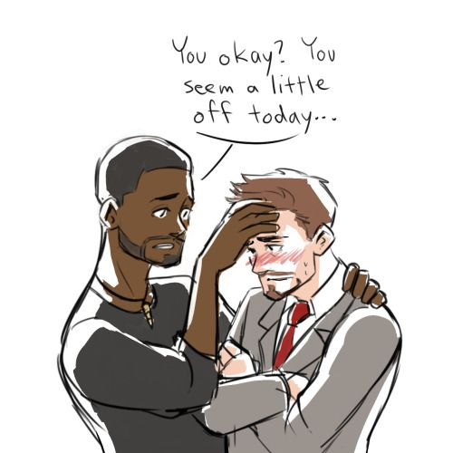 i-ship-tonystark-with-happiness asked: otp quotes challenge: ironpanther, #24 ^_^..........  dchanberry: Poor Tony's feeling sick, but T'challa's here to help! <3