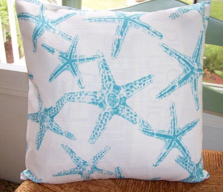 "Pillow Cover 14""Aqua Blue Starfish Beach Coastal Sea Premier Ocean Fabric | eBay"