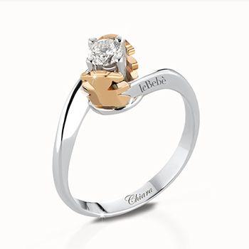 Anello solitario in oro bianco con castone femminuccia modello contrarié in oro bianco e diamante da ct 0,10 G VS a ct 1,00 F IF. Personalizzabile con l'incisione del nome o dell'iniziale.  #lebebe #solitario #oro #diamanti