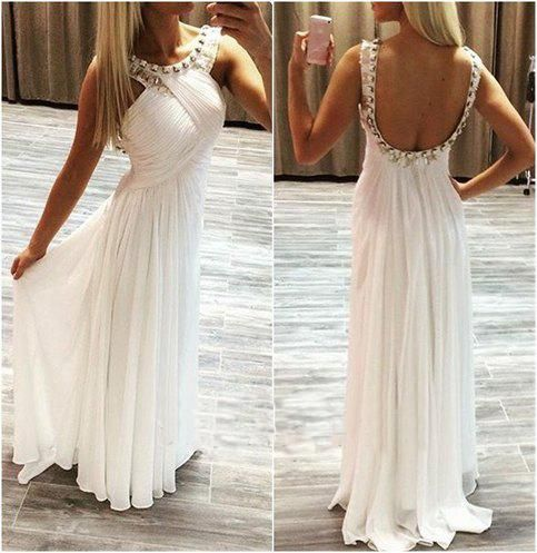 Backless Prom Dresses,White Prom Dress,Backless Prom Gown,Open Back Prom Dresses,Open Backs Evening Gowns,2018 Evening Gown,Chiffon Party DressFor Teens Girls PD20185297