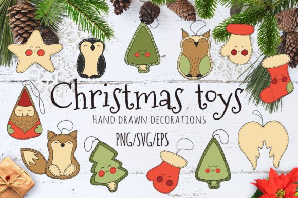 Christmas Toys Hand Drawn Decorative Set Graphic By Evgeniiasart Creative Fabrica In 2020 Christmas Toys Christmas Cards To Make Christmas Truck