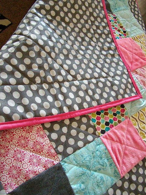 DIY baby quilt - I don't want to make this for a baby, but I'd like to keep all of the kids' blankets and comforters and one day make this with pieces of them together.
