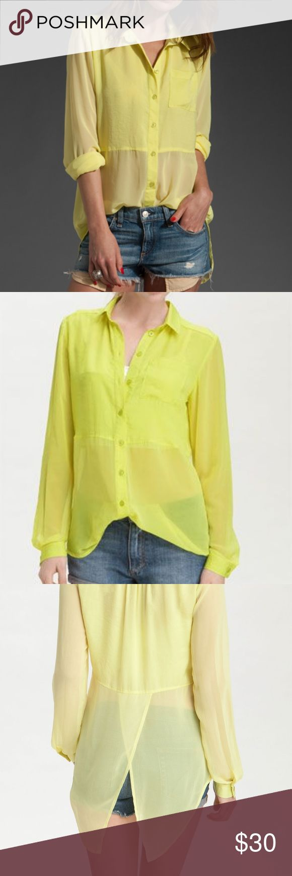 """Free People Split Panel Free People 'Best of Both Worlds' Sheer Panel Shirt. Sold out online. Size Large. Slightly neon yellow. Different colors in different light.   A solid-satin cropped body and collar define a chic, oversized button-front shirt. Sheer sleeves and panels to the hem add a chic touch to the on-trend yet easy-to-wear style.  Single-button cuffs. Approx. length from shoulder: front 30""""; back 35"""". Polyester; machine wash. Free People Tops Button Down Shirts"""