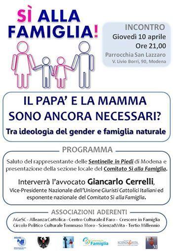 """""""Sì alla famiglia""""  10 aprile 2014 ore 21 Parrocchia San Lazzaro - Modena"""