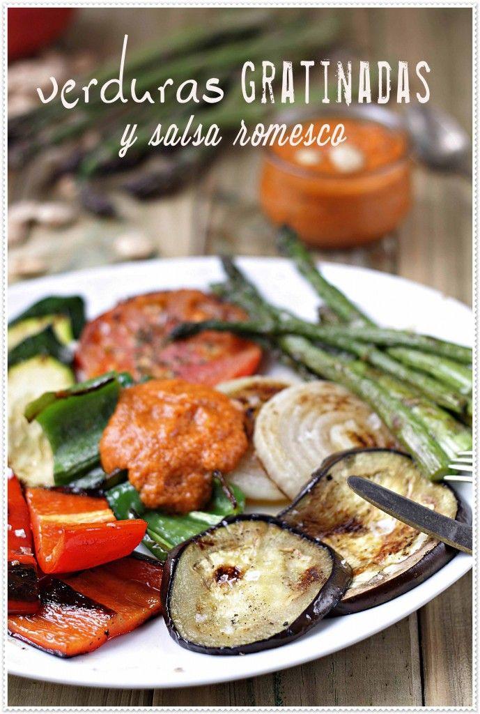 Verduras gratinadas con salsa romesco
