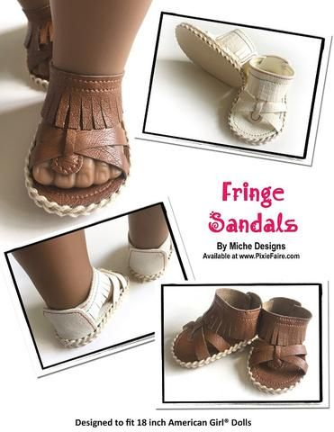 Miche Designs Fringe Sandals Doll Shoe Pattern 18 inch American Girl Dolls | Pixie Faire
