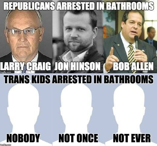 "Beware of the kinds of people who do bad sexual things in bathrooms... not of transgender kids! (Plenty of men have peeped, etc, on women, but I have not seen any documented yet who claimed or appeared to be trans. Search debunking sites for ""transgender"" and you'll see many viral stories thoroughly debunked. For example: http://www.snopes.com/transgender-filming-women-restroom/ )"