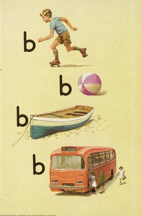 Boy, ball, boat, bus. This site has loss of beautiful alphabet prints such as these.
