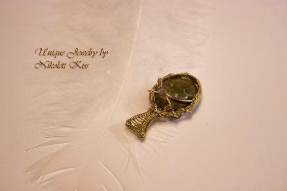 Handmade Copper Wire Wrapped Leopardskin Jasper Pendant
