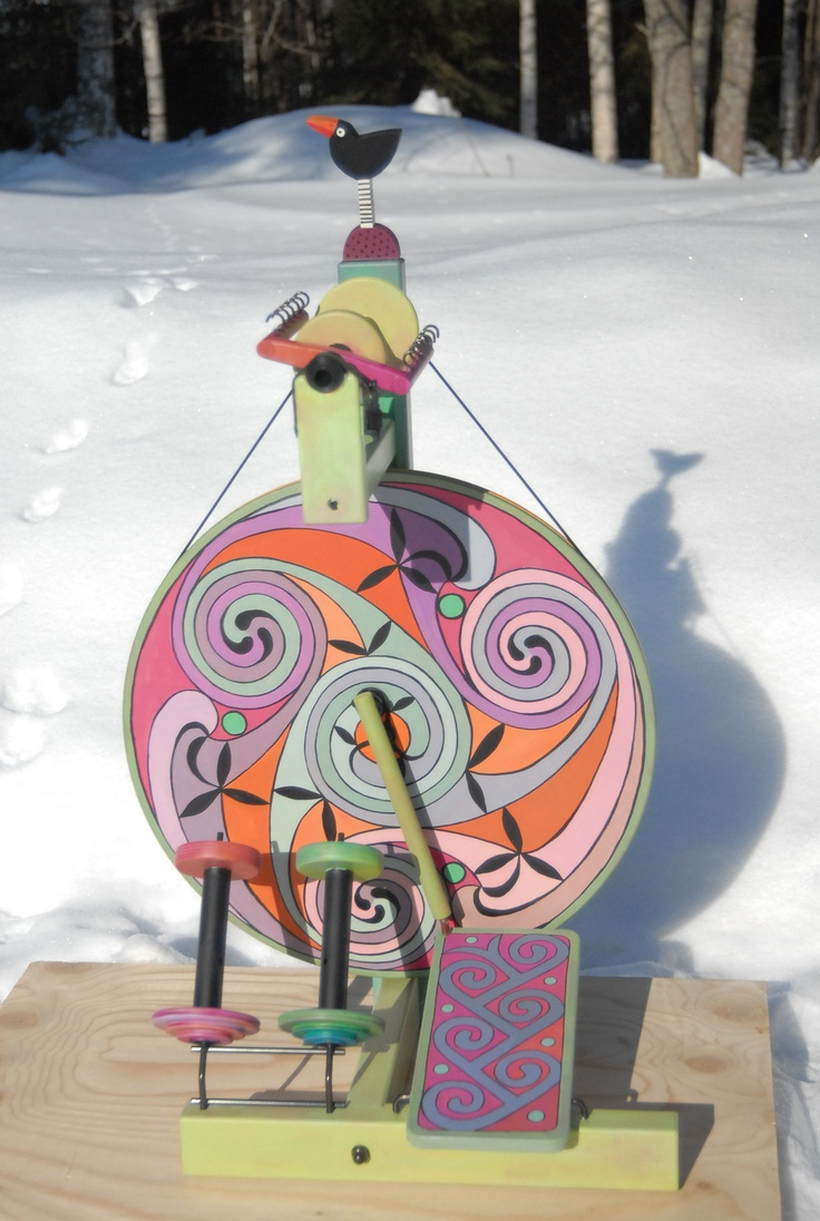 Louet S15 Spinning wheel, painted by Kinixys on Ravelry