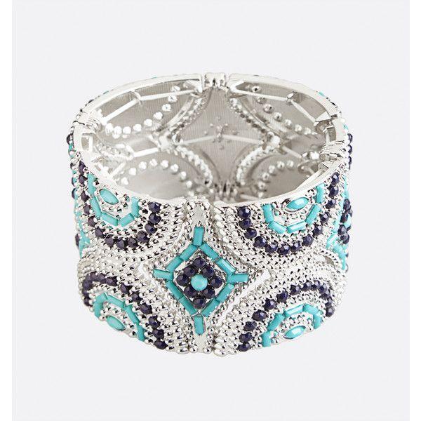 Avenue Aztec Stone Stretch Bracelet ($16) ❤ liked on Polyvore featuring jewelry, bracelets, blue sea, plus size, fake jewelry, blue stone jewelry, blue stone jewellery, avenue jewelry and imitation jewellery