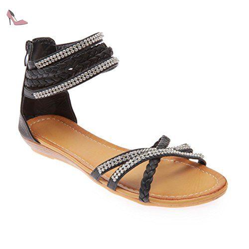 La Modeuse - Sandales grande taille en simili cuir, dotées de brides à strass et de brides tressées - Chaussures la modeuse (*Partner-Link)