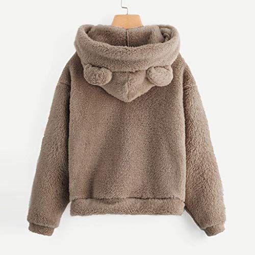 Women Hoodies Long Sleeve Bear Ear Teddy Hooded Fleece Sweatshirt Cardigan Coat